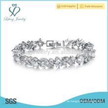 Platin-Silber Armbänder für Damen, Kristall solide Silber Armband