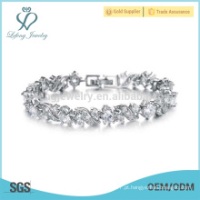 Platina pulseiras de prata para senhoras, pulseira de prata de cristal sólido