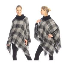 Nuevo estilo 2017 señoras del invierno caen ordenador crochet de punto a cuadros mujeres poncho de invierno
