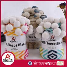 cobertor anti-pilling coral cobertor de lã com pompom