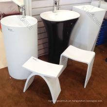 Assento de banho de resina de pedra Assento de banho branco
