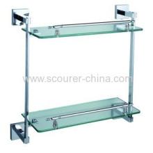Bathroom Double Glass Chrome Shelf