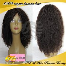2014 Natrual Linha Fina Para A América Africano Kinky Curl Com o Cabelo Do Bebê 100% Cabelo Humano Kinky Curly Perucas Cheias Do Laço