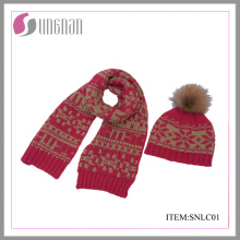 2015 Latest Children Warm Jacquard Scarf and Hat Suit (SNLC01)