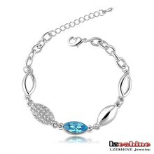 Blue Sapphire Swa Elements Austrian Crystal Chain Braclets (CBR0016-B)