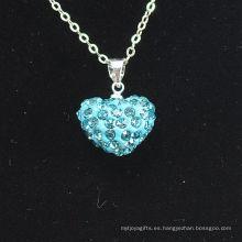 Joya factory Shamballa Collar Arcilla cristalina azul Shamballa de la nueva llegada del corazón de la venta al por mayor de la forma del corazón con el collar de plata de las cadenas