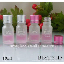 Frasco de vidrio 10 ml con tapón de plástico y tapa de color