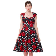 Belle Poque Stock mangas ahuecado espalda algodón 50s Vintage Pinup vestido BP000024-9