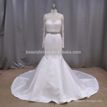 AK048 unique stain gown with long sleeve alibaba wedding dress 2017