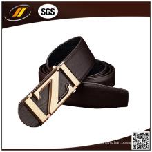 Cinto de couro marrom de couro genuíno superior com fivela de liga particular