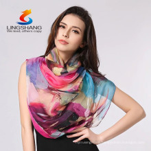 Lingshang New Women's Fashion Long Soft Wrap Ladies Shawl printing Silk Scarf