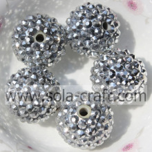 18*20MM Silver Big Sale Loose Resin Rhinestone Solid DIY Kids Necklace Beads