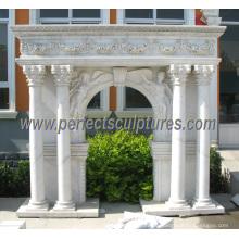 Резной мраморный камин для внутренней каменной скульптуры (QY-LS343)