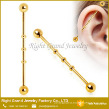 316L Surgical Steel Gold Plated Industrial Bamboo Barbell