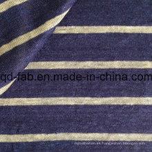 Hilo teñido de rayas tejidas de tela de lino (qf15-2048)
