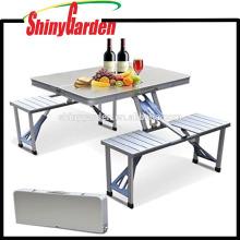 Pequeña mesa plegable portátil con 4 sillas para acampar al aire libre