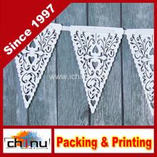 Papel Blanco Corazón Lace Triángulo Banner Pennant Valentine (420036)