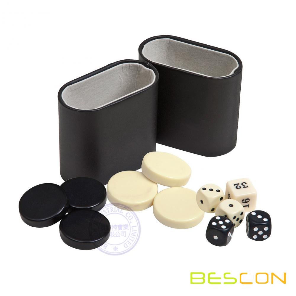 Backgammon Checkers, Dice & Two Genuine Leather Dice Cups-Black/Ivory 1 1/4""