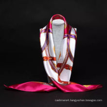 Fashion chinese silk square satin scarf for airline stewardess
