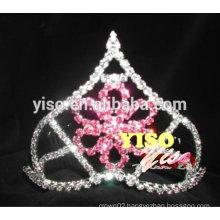 fashion rhinestone pink flower pageant tiara