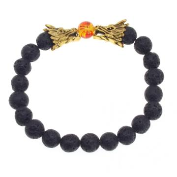 Dragon Head Lava piedra 8 MM pulsera con cuentas