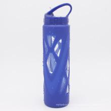 Botellas de agua de vidrio de viaje portátil con paja
