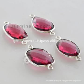 Großhandel Hersteller Pink Tourmaline Edelstein 925 Sterling Silber Lünette Connector