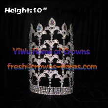 10inch Fleur De Lis Rhinestone Adjustable Pageant Crowns