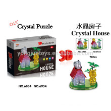 Prety gift DIY crystal 3D puzzle house 70PCS with light