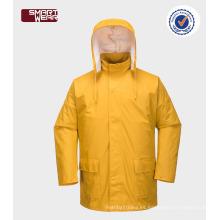 Excelente calidad garantizada calidad seguridad repelente al agua chaqueta pu impermeable