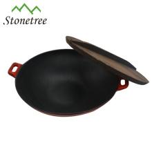 Venta al por mayor industrial chino azul hierro fundido esmalte hierro fundido Wok