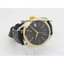 Personalizado de oro de los deportes de tono de banda de cuero automático hombres reloj de pulsera