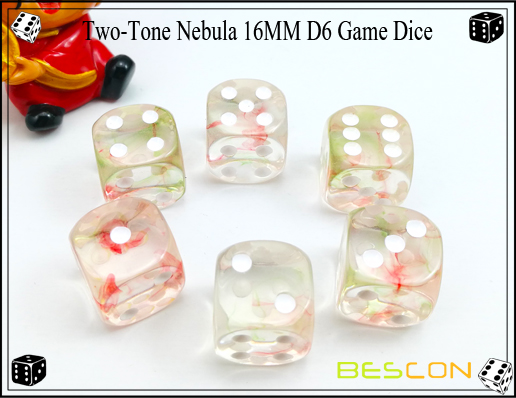 Two-Tone Nebula 16MM D6 Game Dice-9