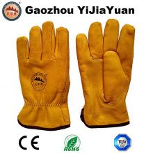 Guantes de cuero de vaca de oro de grano guantes de invierno caliente con forro de Thinsulate