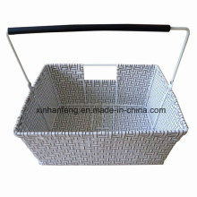 Plastic Wicker Bike Basket with Handle (HBK-120)