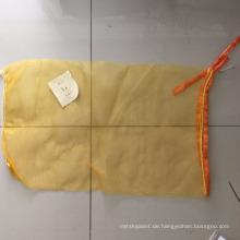 pe röhrenförmige Netztasche für Ingwer, Kartoffel mit Etikett