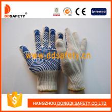 Baumwolle / Polyester String Knit Handschuh Blue Water Wave PVC einseitig (DKP146)
