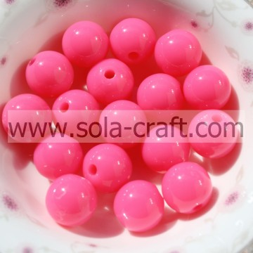 Amazing 6MM Pink Artificial Acrylic Brilliant Fluorescent Beads For Making Necklace