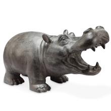 hipopótamo de bronze em miniatura