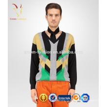 Мужская V-образным вырезом полоска пуловер кашемир свитер