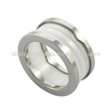 Venta al por mayor 2014 nuevo anillo de cerámica de los hombres del acero inoxidable de la alta calidad de la manera de fabricante de la joyería