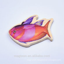 2016 creative cute red color fish shape wood fridge magnets for decor and children toys