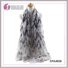 Frühlings-Einfachheit Damen-Welle Rhombic Printed Voile Schal