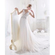 2017 mais novo beading vestido de noiva de tule