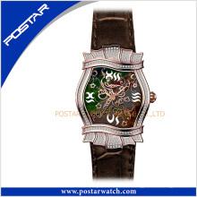 Unregelmäßige High-End-Unisex-Edelstahl-Schweizer Quarz-Leder-Uhr
