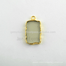 Wholesale Fine Quality Green Amethyst Quartz Slice Bezel Charm, Micron Gold Plated Sterling Silver Gemstone Bezel Charm