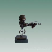 Bustos Bronze Estátua Violinista Decoração Escultura De Bronze Tpy-758