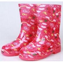 Botas de chuva de PVC de crianças, limpar geleia botas para menina