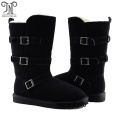 Winter Warm Lace Up Belt Buckle Leather Boots