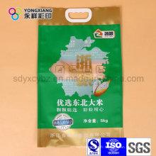 Sac adapté aux besoins du client d'emballage en plastique de riz de taille avec la poignée